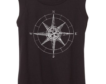 Womens Cap Sleeve Compass Top - Hand drawn compass print - grey - Womens top - illustration - drawing - Tshirt - Small, Medium, Large, XL