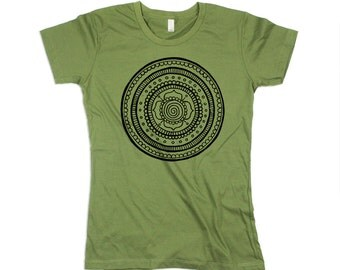 womens green mandala shirt, green mandala tshirt, army green, olive green, mandala print, boho shirt - small, medium, large, xl