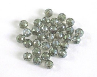 8mm Fire Polished Czech Faceted Glass Beads / Neutral Smoke Grey / Lot of 32 8mm Round Beads / Shiny Sparkly / Destash Beads / Bargain Beads