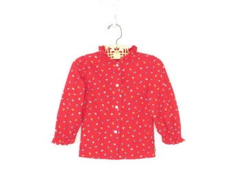 Calico Baby Shirt * Vintage 80s Toddler Blouse * Red Ruffle Floral Blouse * 2 year old