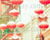 San Francisco Art, Peach, Mint Green, Chinatown, Chinese Lantern, San Francisco Print, SF California Print, Good Luck