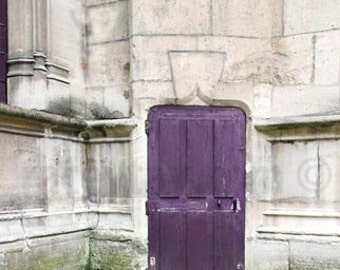 Paris Print, Purple, Door Photo, Rustic Decor, Purple Door, Paris Photography Large Wall Art