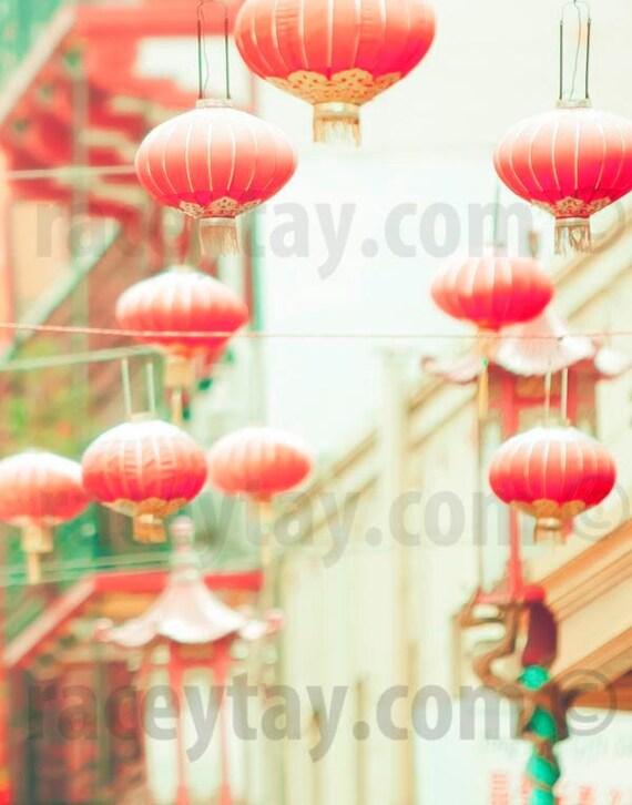 San Francisco Art, Peach, Mint Green, Chinatown, Chinese Lantern, San Francisco Print, SF California Print, Good Luck