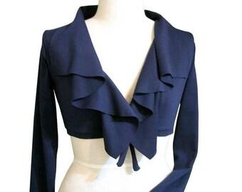 Black shrug, Blue shrug with long sleeve, Ruffle shrug, Handmade jacket, Custom jersey shrug, Plus size cardigan, Plus size clothing