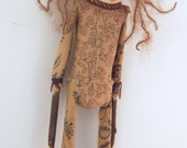 Folk Art doll cloth and clay stocking cap hand stitched wall art #3