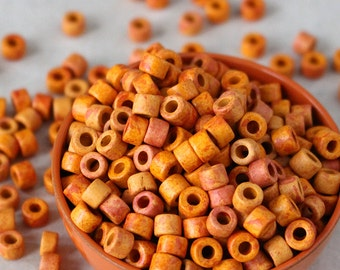 4x6mm Mykonos Mini Tube Beads - Jewelry Making Supplies -  6x4mm Greek Ceramic Beads - Bright Sunshine Orange Red Mix - Choose Your Amount