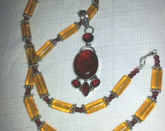 fancy Citrine and Garnett necklace