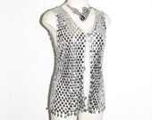 Vintage CHAINMAIL VEST Silver Disk Tank Top