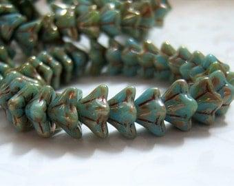 Czech 6x9mm Maya blue picasso flower bead lot of (25)  - JU175