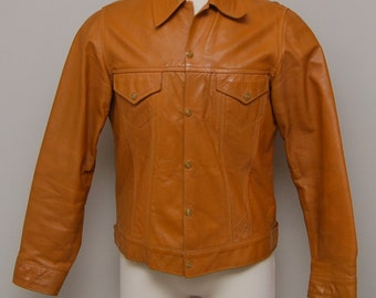 1960s men's caramel leather jacket/ 50s men's leather jacket/ Lomell of California