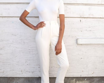 Vintage Minimalist 1990's White High Waisted Tapered Equestrian Rayon Pants Trousers XS/S 25