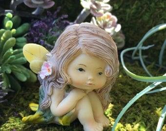 Sweet Little Fairy Girl Figurine, Little Fairy Style 61, Miniature Garden Decor, Fairy Garden Accessory, Topper