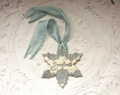Personalized For Grandma Vintage Style Polymer Clay Snowflake Ornament Christmas Holiday Winter Gift Her, Antique Gold Metallic Green Patina