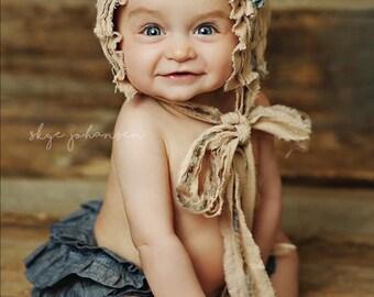 Newborn Bonnet. Toddler Bonnet. Baby Bonnet. Shabby Chic. Tan. Organic. Blue. Baby. Toddler. Photo Prop. Vintage. SAVANNAH.Tolola Design.