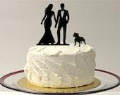BULLDOG + BRIDE + GROOM Silhouette Wedding Cake Topper with Dog Cake Topper for Wedding Cake Romantic Cake Topper with Peg Dog