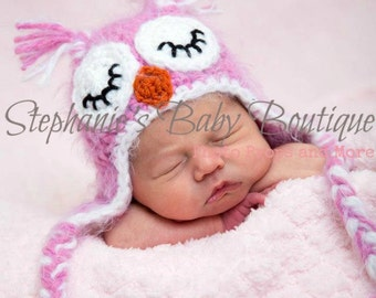 Crochet Baby Boy Girl, Sleeping Owl Ear Flap Hat, Custom Made To Order, Newborn, 0-3, 3-6 Months, Photo Prop, Photography Prop, Shower Gift