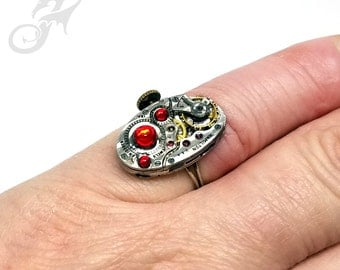 Size 5-7 Steampunk Ring ~ Hamilton Watch Movement w/ Swarovski Siam Red Rhinestones ~ Handmade Sterling Silver Adjustable Band ~ #R0100