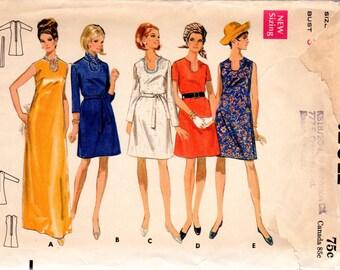 1960s Dress with U Neckline - Vintage Pattern Butterick 5115 - Bust 34