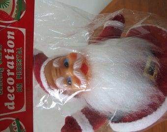 "50s 60s Midcentury Santa Figure - 7"" Tall Red Velveteen Dancing Santa Claus NIP"