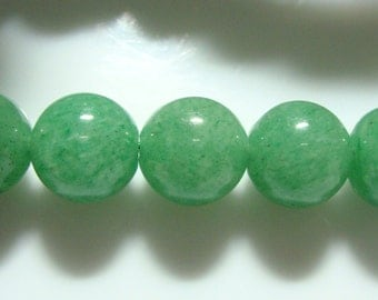 10mm, 1/2 strand, Green aventurine Round Smooth Beads