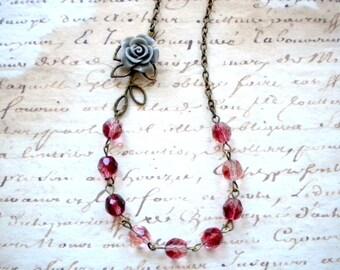 Burgundy Jewelry Flower Necklace Burgundy Necklace Leaf Necklace Maroon Jewelry Grey Rose Necklace Romantic Jewelry Maroon Necklace