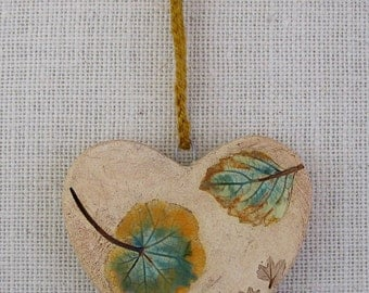 Clay Heart with Pressed Real Leaves & Plants - Hanging Two-Sided Wall Decoration - Hand built - Handglazed - Botannical Decoration