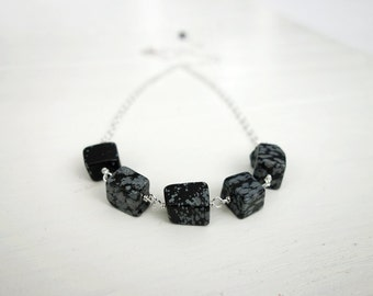 Chunky stone necklace women's chain necklace snowflake obsidian stones minimalist necklace for women