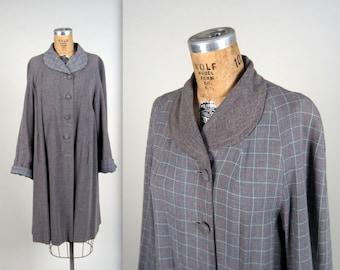 1940s reversible gabardine coat • vintage 40s coat • flake print and plaid swing coat • duster coat