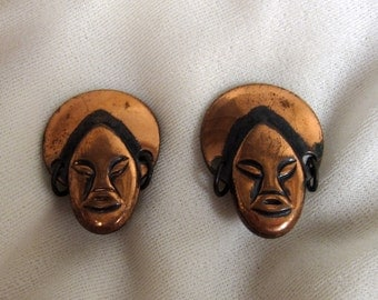 1960s African queen earrings • vintage 60s earrings • copper clip ons