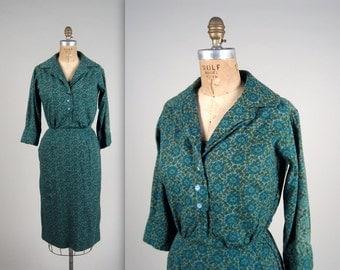 SALE • 1950s medallion print shirt dress • vintage 50s dress • cotton day dress