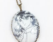 Sailor Moon - Nephrite - Dark Kingdom - Glass Jewelry - Handmade Recycled - Manga / Anime Pendant Necklace