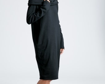 Winter Dress / Loose Dress / Long Sleeve Dress / Midi Dress / Sweatshirt Dress / Oversize Dress / marcellamoda - MD714