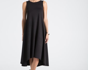 NEW Black Summer Dress / Party Dress / Strapless Dress / Midi Dress / Oversize Dress / Loose Dress / marcellamoda - MD670