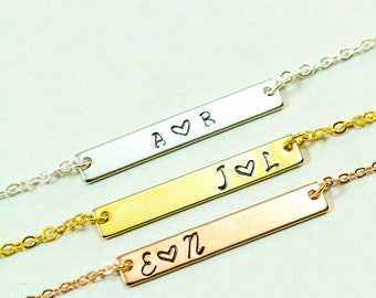 FREE SHIP • Gold Bar Necklace • Initial Necklace Best Friend Gift •Silver Bar Necklace Anniversary Gift Children Initial Friendship Necklace