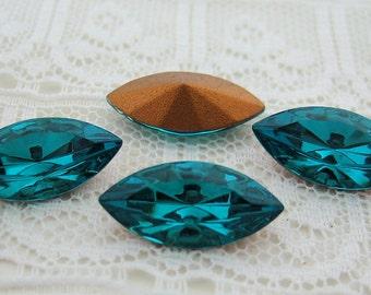 15x7 Swarovski Blue Zircon Navette Glass Rhinestone Jewels Qty 4