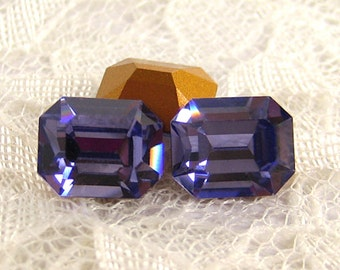 12x10 Swarovski Rhinestone Machine Cut Tanzanite Octagon 1 Pair