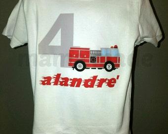 Firetruck Birthday Shirt,  Fireman Birthday Shirt,  Firefighter Birthday Shirt or Bodysuit,boys birthday shirt, fireman birthday shirt