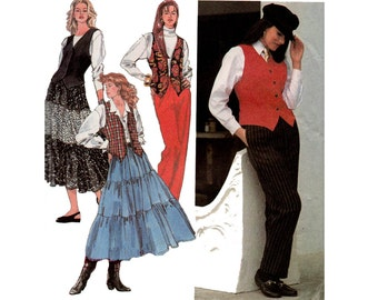 90s Womens Pants Peasant Skirt & Vest Pattern Simplicity 8548 Vintage Sewing Pattern Size 12 14 16 Bust 34 36 38 inches UNCUT Factory Folded