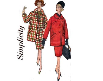 60s Womens Skirt & Coat Pattern Simplicity 3622 MOD Vintage Sewing Pattern Size 16 Bust 36 inches
