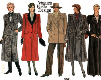 Vogue Basic Design 1220 Womens Retro Overcoat Coat Trenchcoat 80s Vintage Sewing Pattern Size 8 or 18 Bust 31 1/2 or 40 Inches
