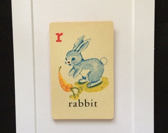 Vintage Rabbit 5 x 7 Matted Childrens Playing Flash Card