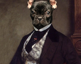 "Portrait of Bouledogue Français - 11"" X 17"" Fine Art Print"