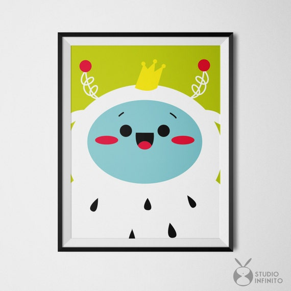 Quirky Wall Decoration : Whimsical art prints quirky wall monster kawaii design