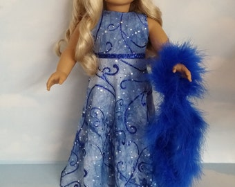 18 inch doll clothes - #278 Blue Glitter Gown handmade to fit the American Girl Doll - FREE SHIPPING