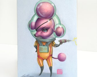 Lt. Hemwick - Atomic Candy Cosmonauts officer - signed 4 x 5.75 Mini Art Print by Mab Graves - unframed