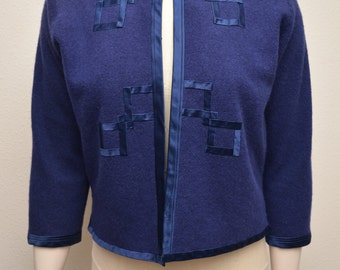 Vintage 50s Royal Blue Sweater Cropped Bolero Satin Trim Asian Geometric