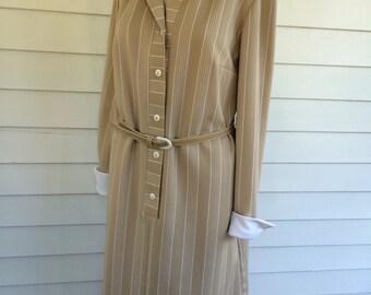 Beige Striped Dress Retro Neutral Long Sleeve Vintage 70s 1970s Casual L