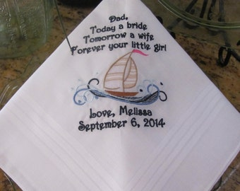 Father of the Bride - Nautical - Embroidered - Wedding Handkerchief - Sailboat - Wedding Gift - Simply Sweet Hankies