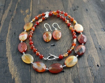 Carnelian Necklace and Earrings Set, Burnt Orange, Brown, White and Silver Necklace, Dangle Earrings, Matching Gemstone Set