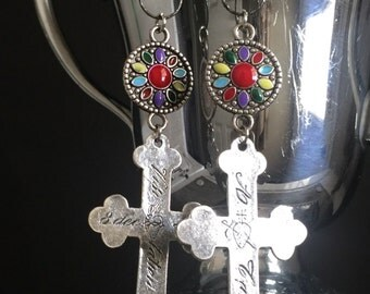 mission cross - earrings nuns cross enamel silver rhinestone dangle boho bohemian catholic religious tribal rustic gypsy, the french circus